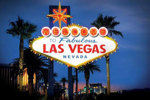 Classic Las Vegas Welcome Sign lit up at nigh.
